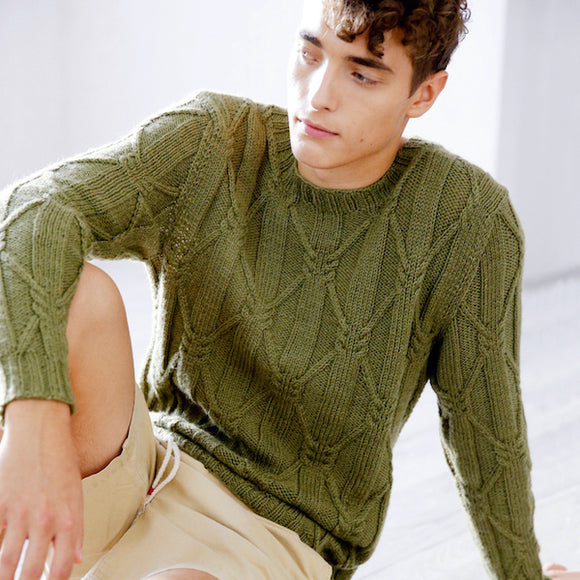 Knitting pattern for men's jumper with cables made with ggh Wollywasch