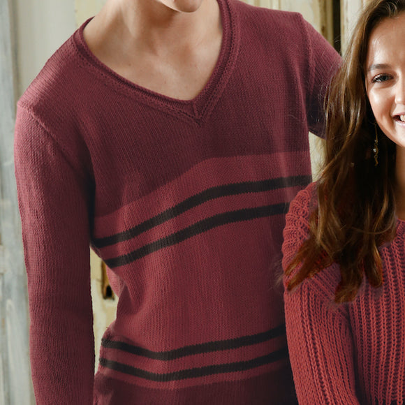 Men's V-neck Jumper in ggh Cottina - Rebecca Knit Kit - I Wool Knit
