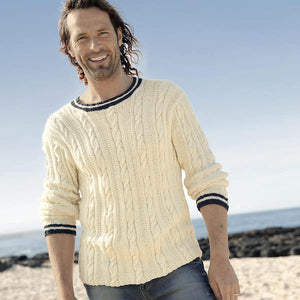 Men's maritime cabled sweater in Volante, Rebecca Knit Kit, I Wool Knit