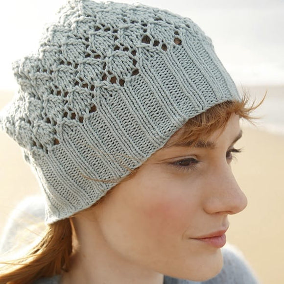 Lace knit beanie in ggh Cottonea - Rebecca Knit Kit - I Wool Knit