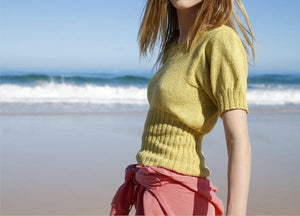 Short sleeved retro style jumper with puffed sleeved in ggh Reva - Rebecca Knit Kit - I Wool Knit