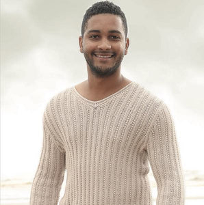 Men's V-neck Sweater in Volante, Rebecca Knit Kit, I Wool Knit