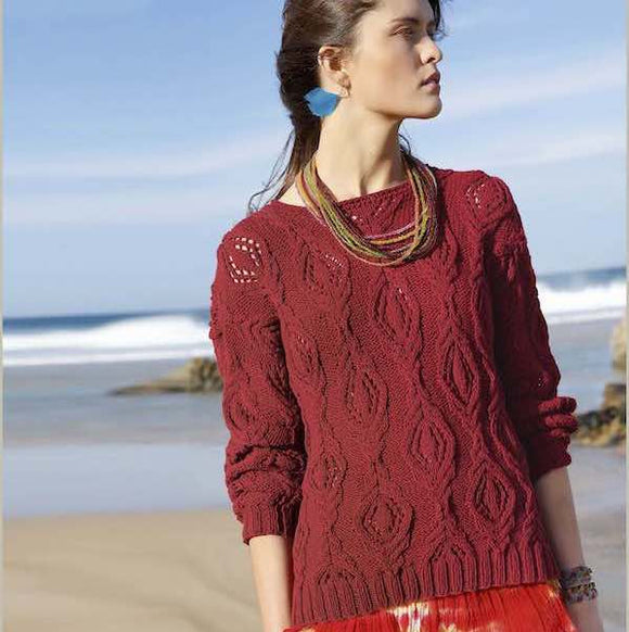 Women's sweater with cable and lace knit pattern in ggh Linova - Rebecca Knit Kit - I Wool Knit