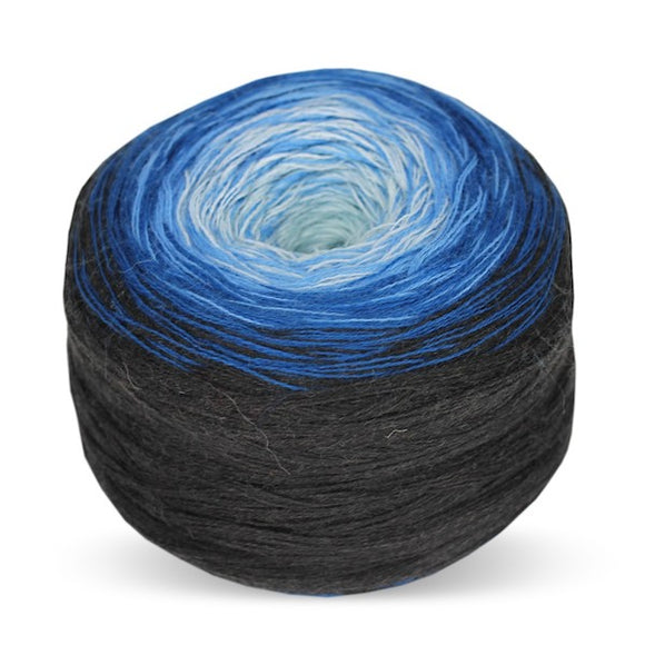 Rellana Regenbogen Merino 204, Azure, hand-wound multi-coloured yarn cake, 200g - I Wool Knit