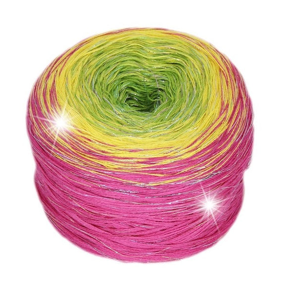 Rellana Regenbogen Metallic 121, Lollipop, hand-wound multi-coloured irisé yarn cake, 4ply, 200g - I Wool Knit