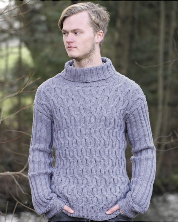 Mens Cable Knit Sweater In Rellana Merino Fine Knit Kit I Wool Knit