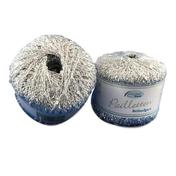 Rellana Pailletten 201 Silver - Sequinned Auxiliary Yarn - I Wool Knit