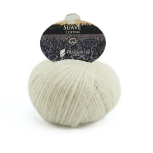 Pascuali Suave 096 white, cotton yarn with cashmere feel, 25g - I Wool Knit