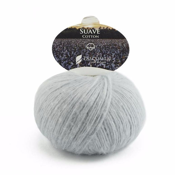 Pascuali Suave 062 baby blue grey, cotton yarn with cashmere feel, 25g - I Wool Knit