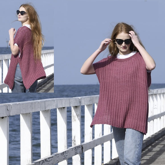 Throw-over poncho in Calor Natural - Knit Kit - I Wool Knit