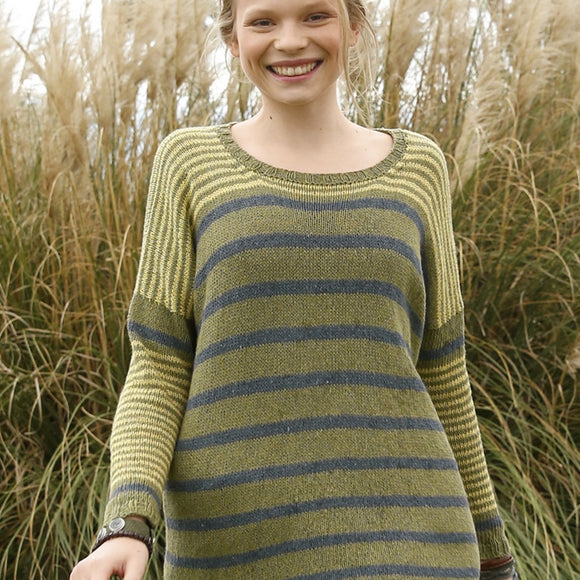 Wide striped pullover in ggh Reva - Rebecca Knit Kit - I Wool Knit