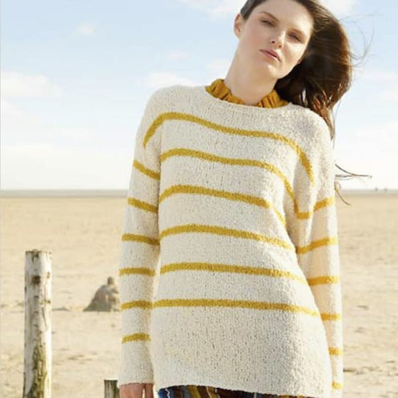 Striped Jumper  in ggh Limba Merino bouclé yarn - Rebecca Knit Kit - I Wool Knit