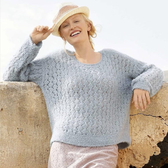 Terry cotton sweater with lace knit pattern in ggh Bellina, Rebecca Knit Kit, I Wool Knit