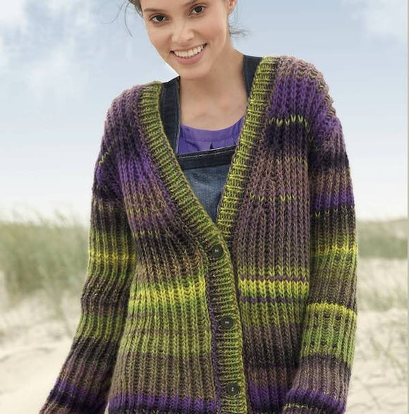 Loose-fit Cardigan in brioche stitch in ggh Joker - Rebecca Knit Kit - I Wool Knit