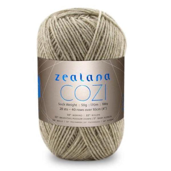 Zealana Cozi 01 sock yarn, sugar, Possum, Alpaca & Merino, 4ply, 50g - I Wool Knit