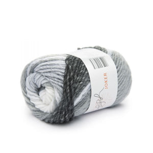 ggh Joker 001, black-grey-white, variegated bulky wool blend, 12ply, 50g - I Wool Knit