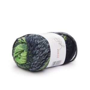 ggh Joker 016, green-navy, variegated bulky wool blend, 50g - I Wool Knit