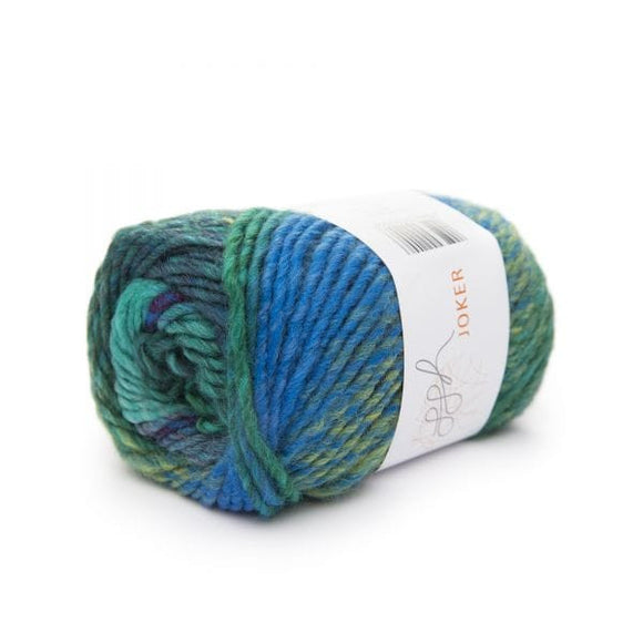 ggh Joker 015, blue-green, variegated bulky wool blend, 50g - I Wool Knit