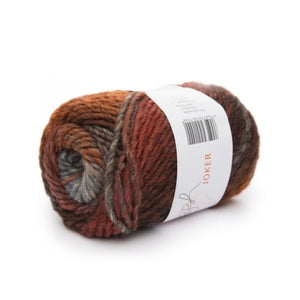 ggh Joker 013, brown-rust, variegated bulky wool blend, 12ply, 50g