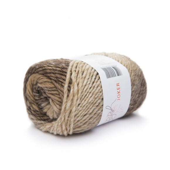 ggh Joker knitting yarn, variegated ecru-brown, I Wool Knit