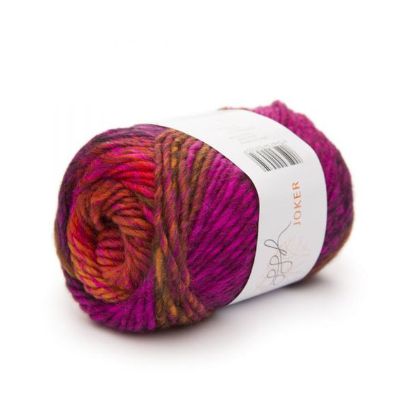 ggh Joker 021, orange-pink, variegated bulky wool blend, 50g - I Wool Knit