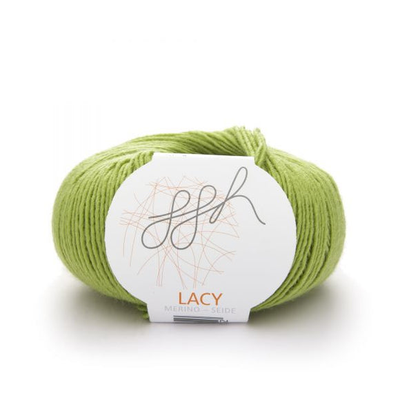 ggh Lacy 006 apple green, Merino wool and silk knitting yarn, 25g - I Wool Knit