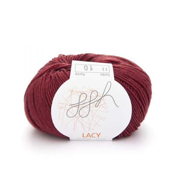 ggh Lacy 011 cardinal red, Merino wool and silk knitting yarn, 25g - I Wool Knit