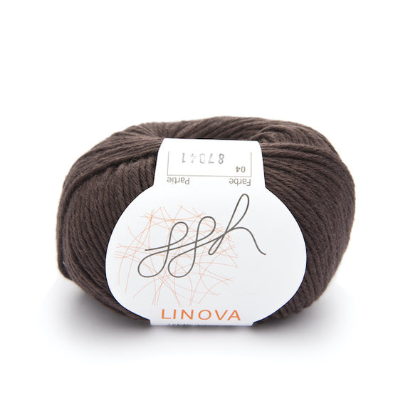 ggh Linova 004, chocolate, cotton-linen knitting yarn, 50g - I Wool Knit