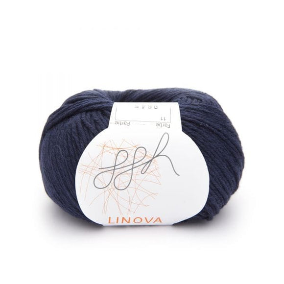 ggh Linova 011, navy, cotton-linen knitting yarn, 50g - I Wool Knit