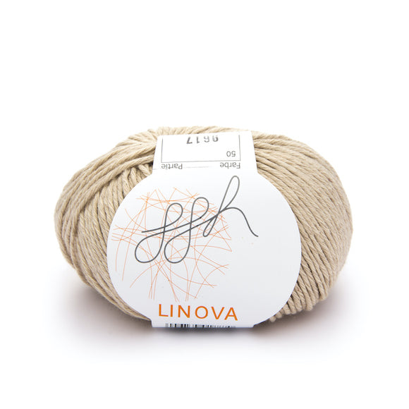 ggh Linova 050, sand, cotton-linen knitting yarn, 50g - I Wool Knit