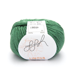 ggh Linova 059, moss green, cotton-linen knitting yarn, 50g - I Wool Knit