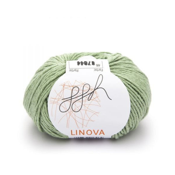 ggh Linova 046, linden green, cotton-linen knitting yarn, 50g - I Wool Knit