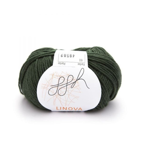 ggh Linova 060, forest green, cotton-linen knitting yarn, 50g - I Wool Knit