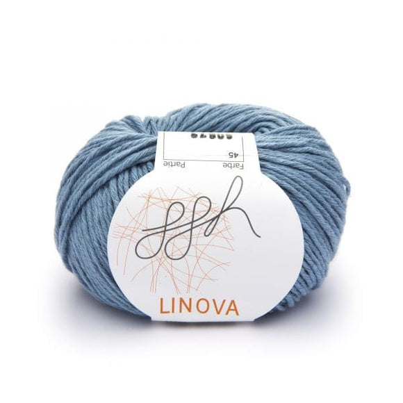 ggh Linova 045, grey-blue, cotton-linen knitting yarn, 50g - I Wool Knit