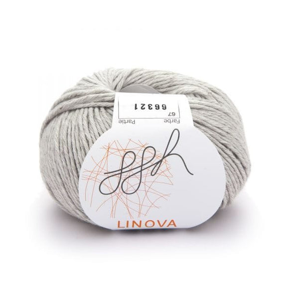 ggh Linova 067, light grey, cotton-linen knitting yarn, 50g - I Wool Knit
