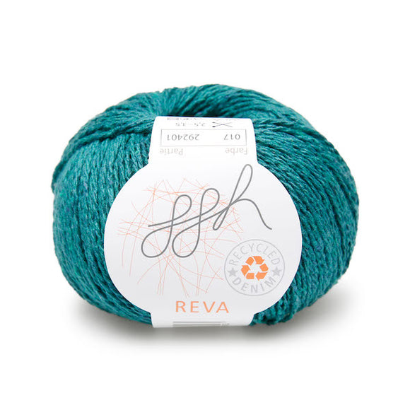 ggh Reva 017 Blue-green, Recycled Denim Cotton Yarn, 50g - I Wool Knit