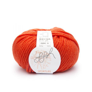 ggh Sportlife 015 flaming orange, superwash wool, 10ply, 50g - I Wool Knit