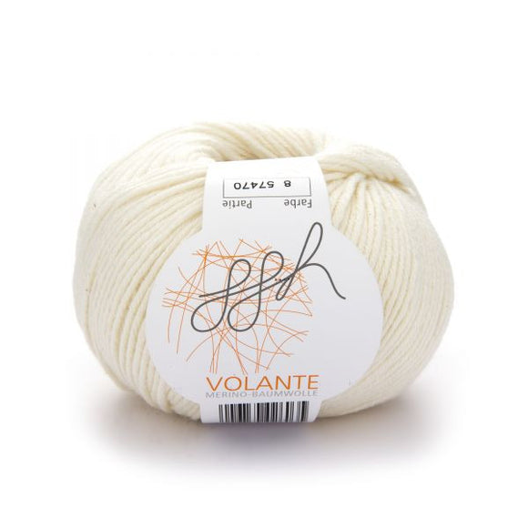 ggh Volante 008, ecru, Merino with cotton, 50g - I Wool Knit