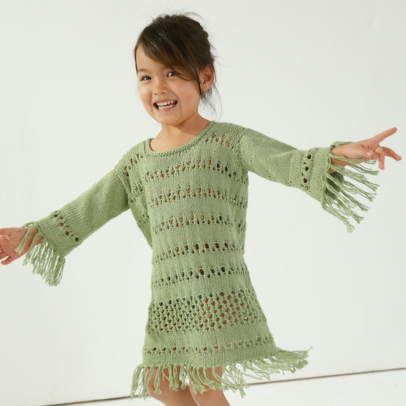 Girl's dress (size 4-6) in ggh Linova - Rebecca Knit Kit - I Wool Knit