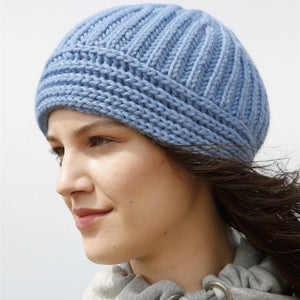 Rebecca Knit Kit. Beanie in Fisherman's Rib - I Wool Knit