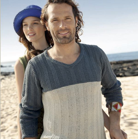 Men's Sweater with Ribbing Pattern Knitting Kit - I Wool Knit