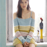 Shoulder-free jumper in ggh Volante - Rebecca Knit Kit. Available from I Wool Knit