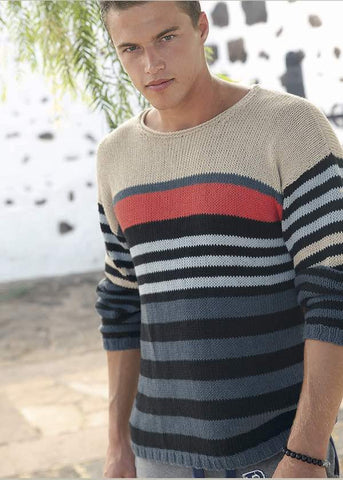 Men's sweater in Linova cotton and linen yarn