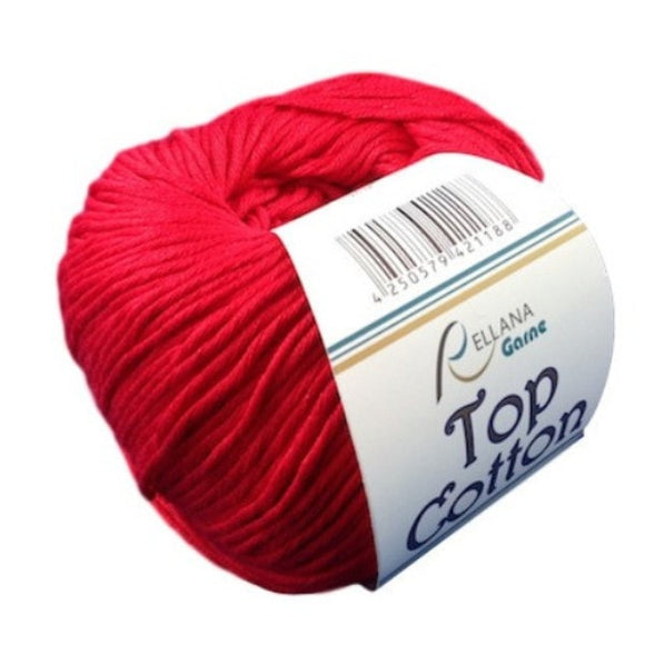 Top Cotton 3, red, 4ply, 50g - I Wool Knit - 1