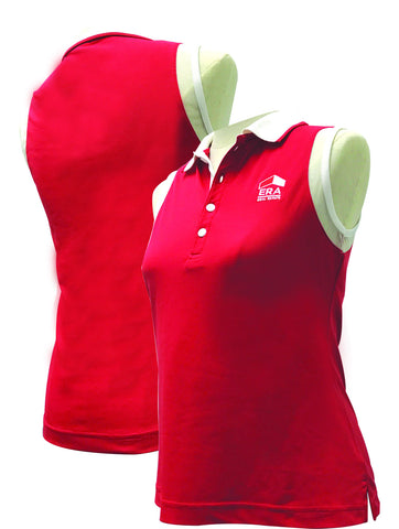 Ladies Red Sleeveless Polo