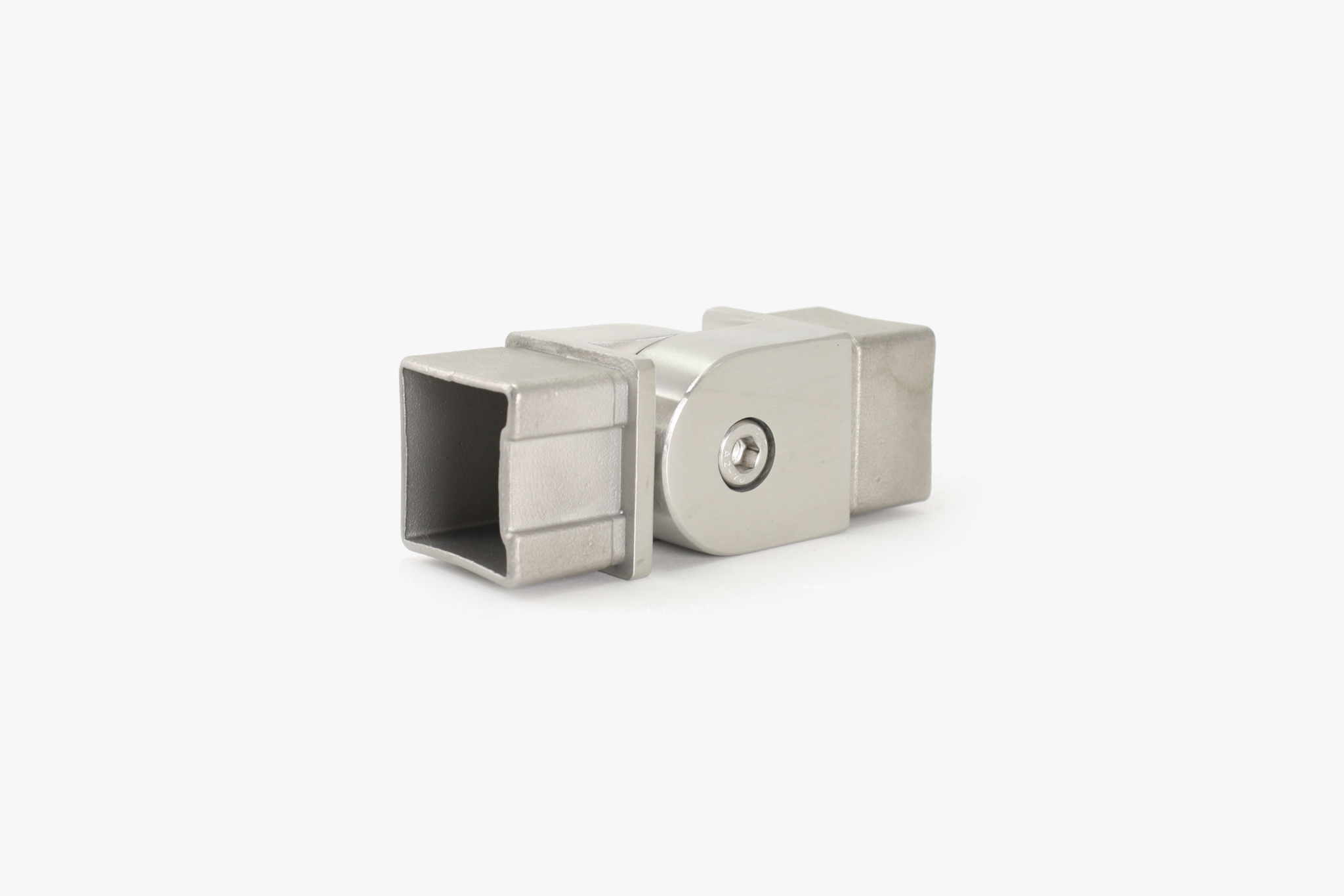 Adjustable elbow for square tube - Brushed stainless steel