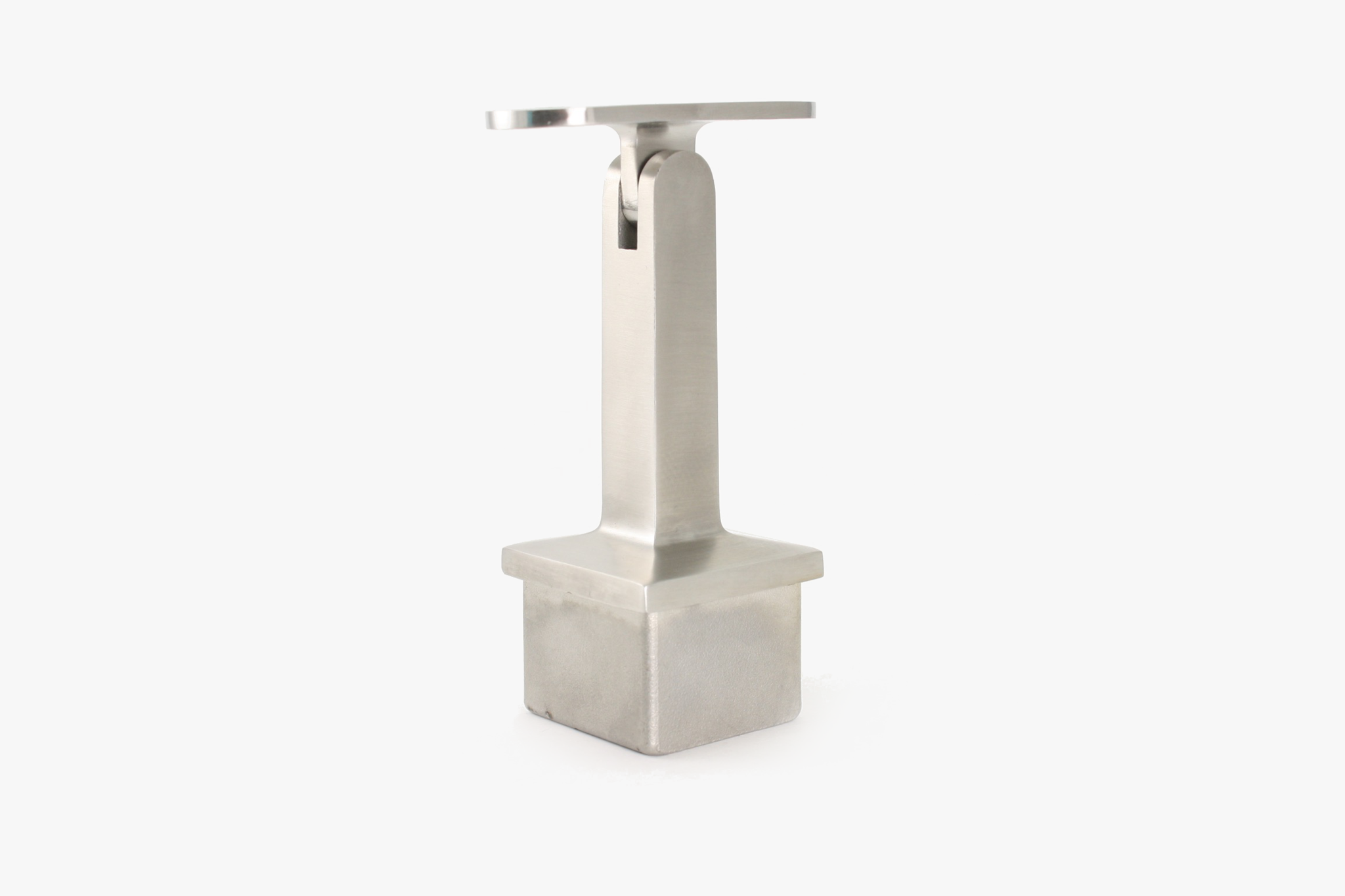 Tube mounted bracket for square tube - Brushed stainless steel