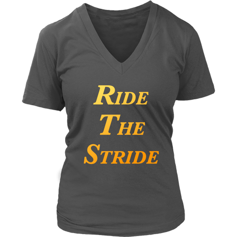 Ride The Stride Ladies V-Neck Tee
