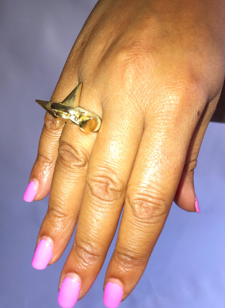 Gold Ring with High Points
