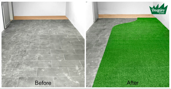 Artificial grass on concrete floor